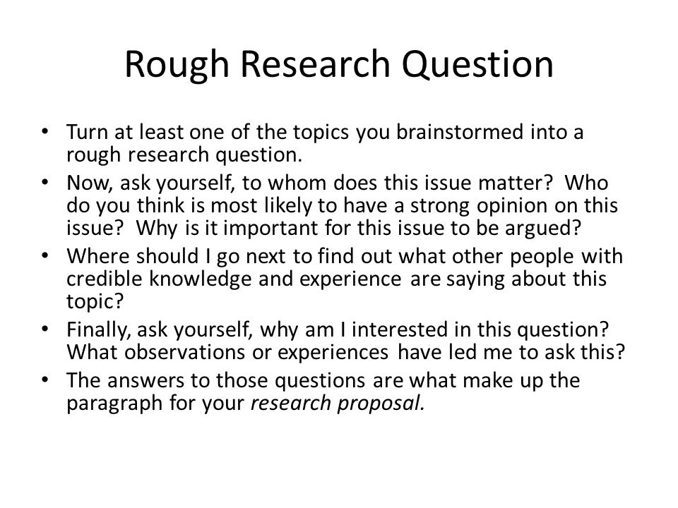 Rough Research Question