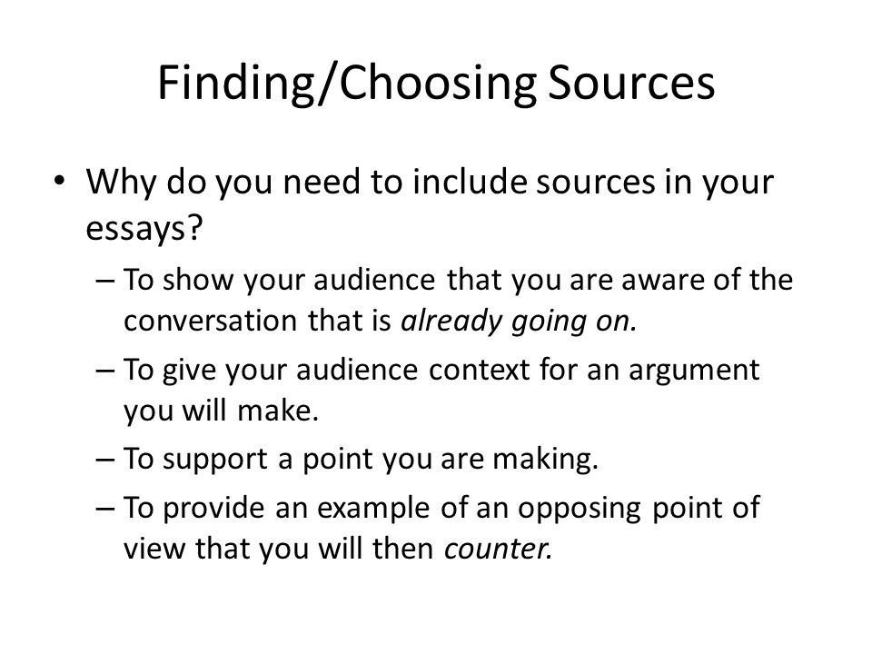 Finding/Choosing Sources