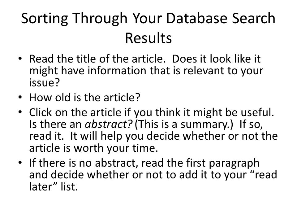 Sorting Through Your Database Search Results