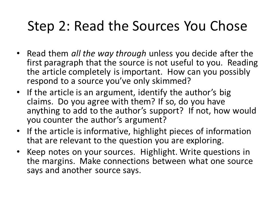 Step 2: Read the Sources You Chose