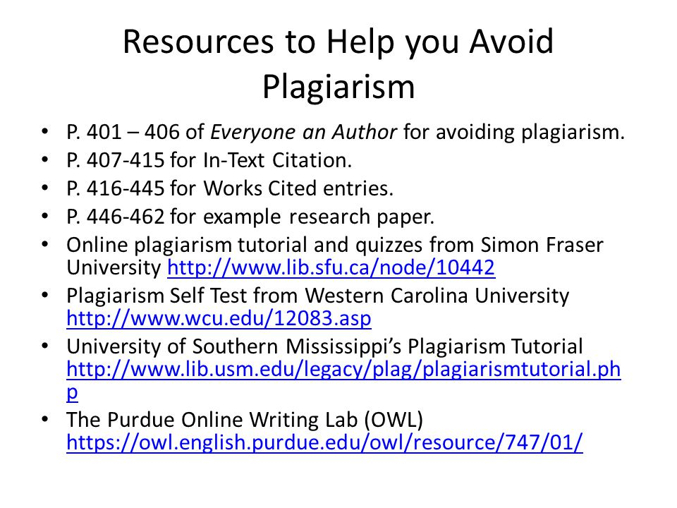 Resources to Help you Avoid Plagiarism
