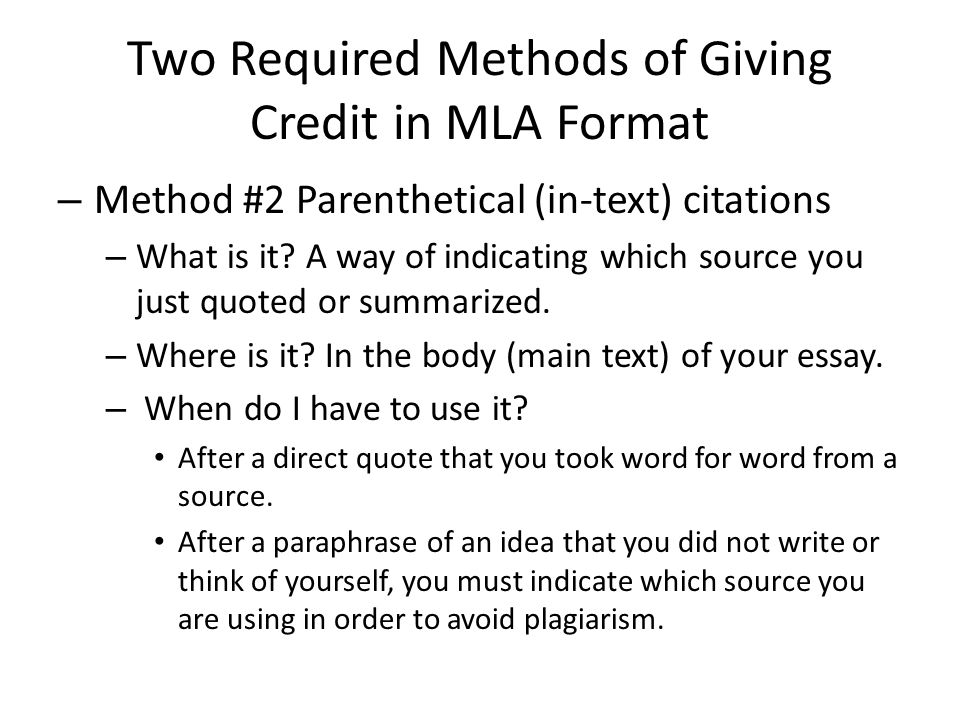 Two Required Methods of Giving Credit in MLA Format