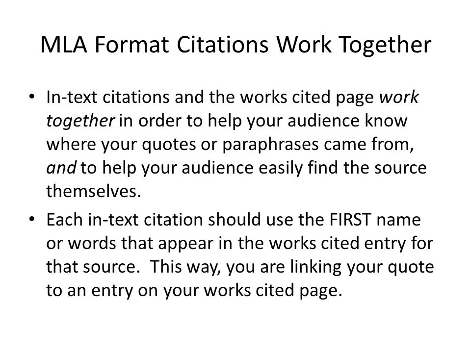 MLA Format Citations Work Together