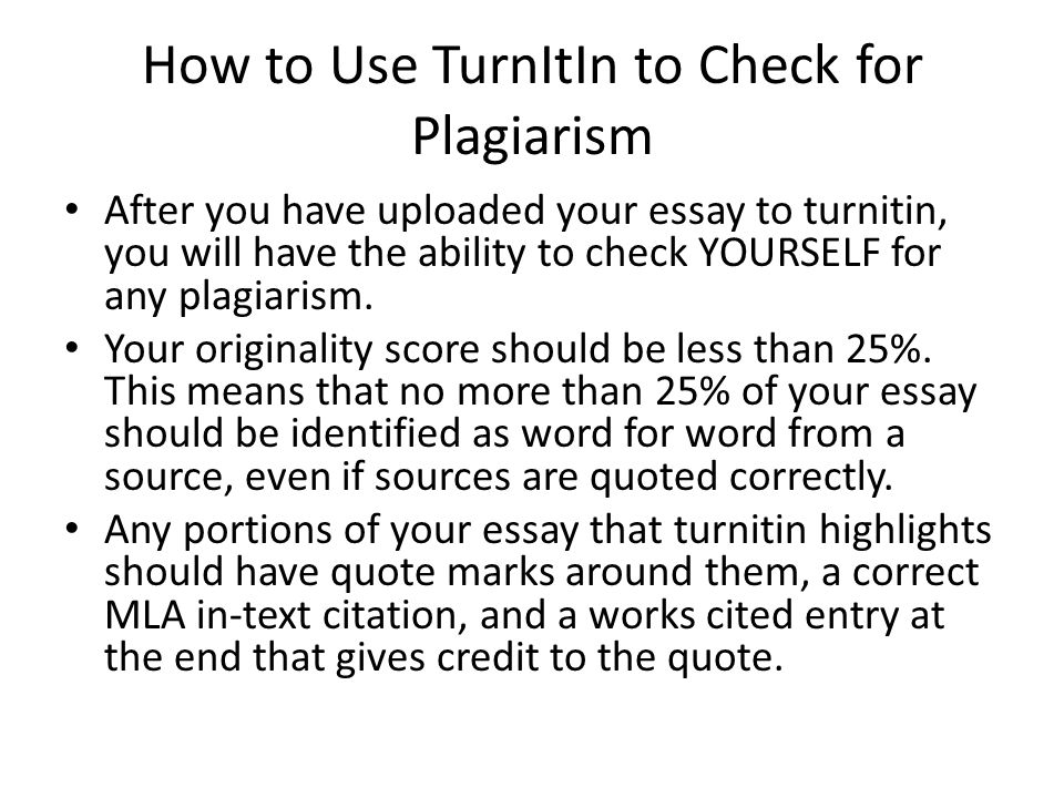 How to Use TurnItIn to Check for Plagiarism
