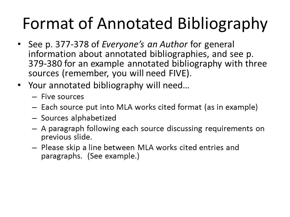 Format of Annotated Bibliography