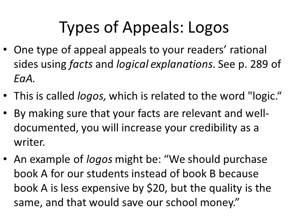Types of Appeals: Logos