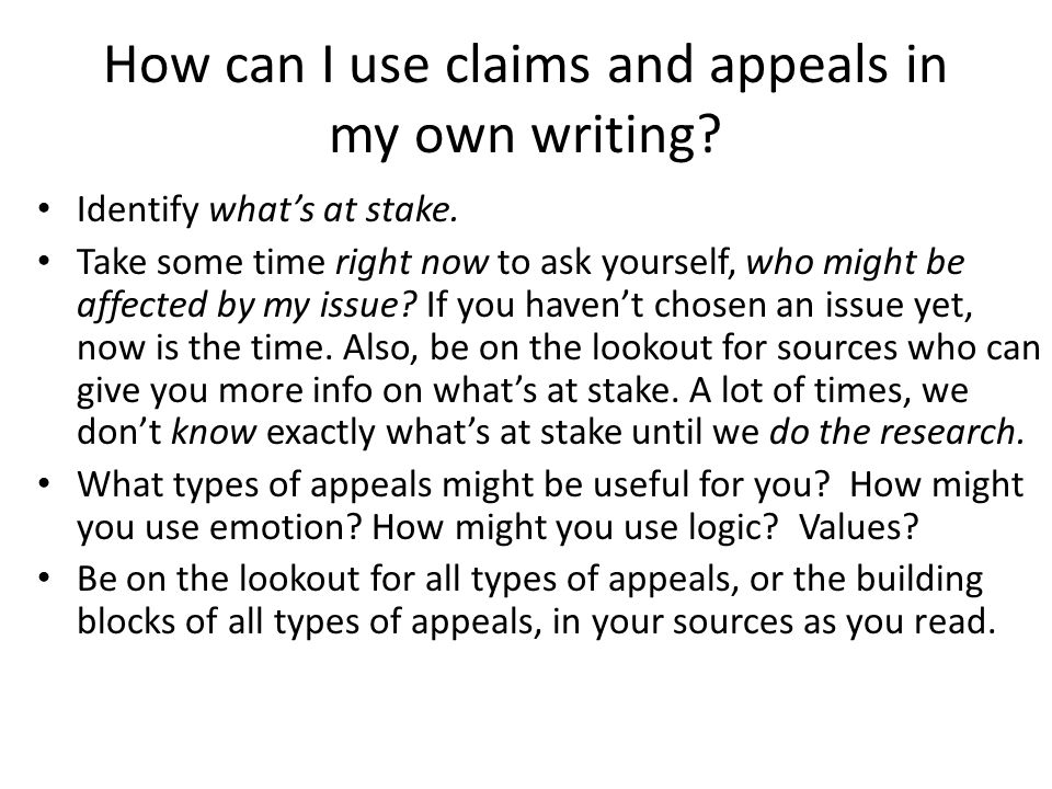 How can I use claims and appeals in my own writing