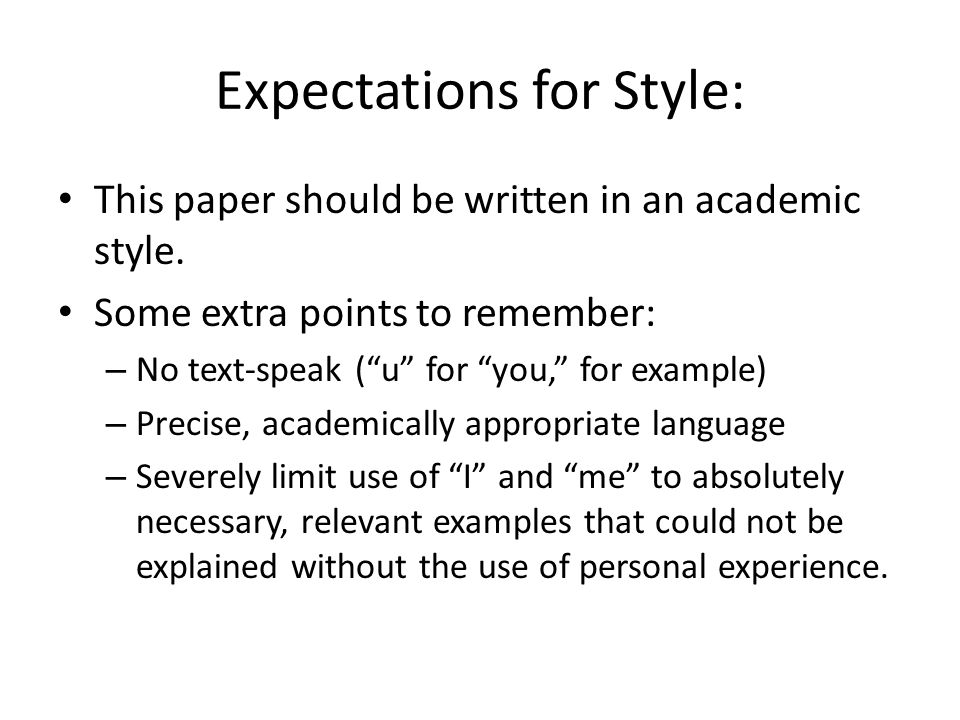 Expectations for Style: