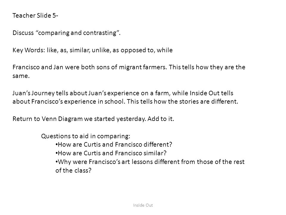 Discuss comparing and contrasting .
