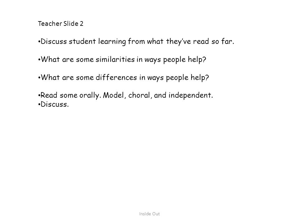 Discuss student learning from what they've read so far.