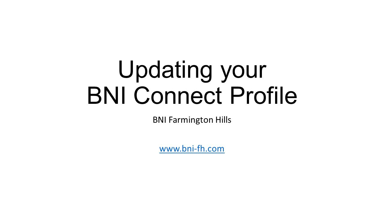 Updating your BNI Connect Profile