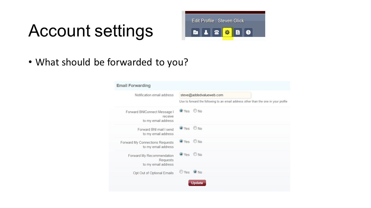 Account settings What should be forwarded to you