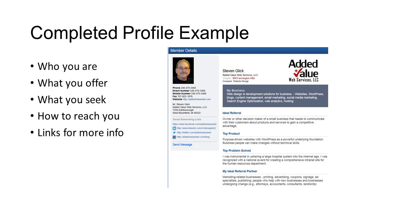 Completed Profile Example