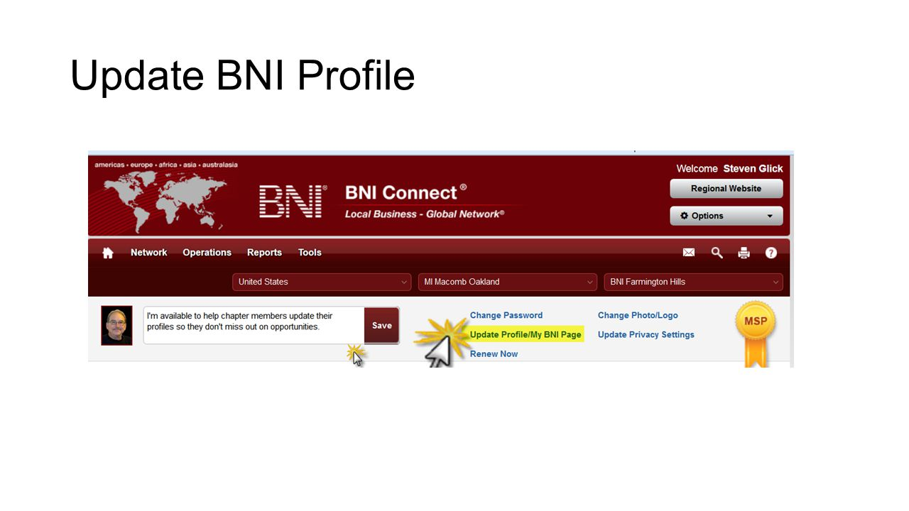 Update BNI Profile