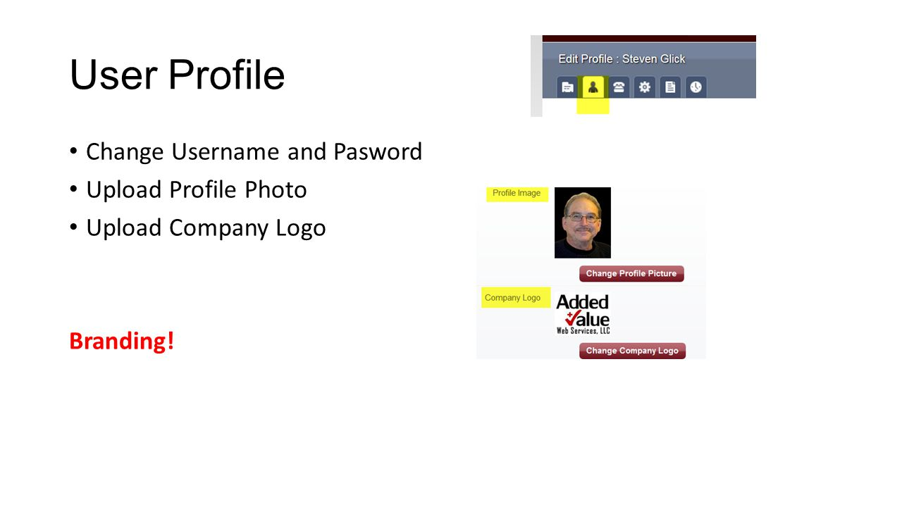 User Profile Change Username and Pasword Upload Profile Photo