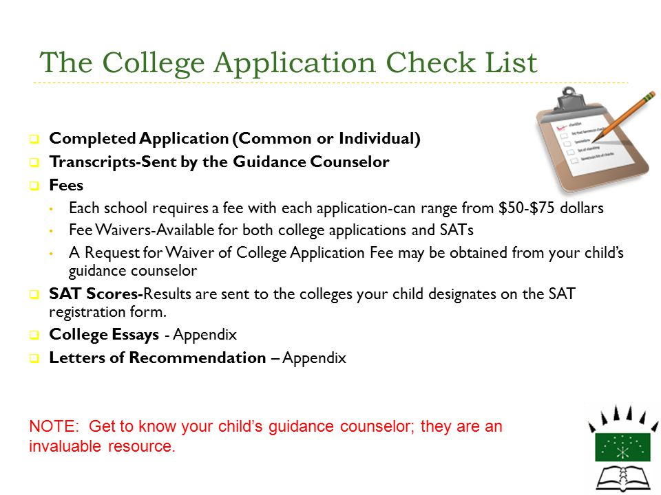 The College Application Check List