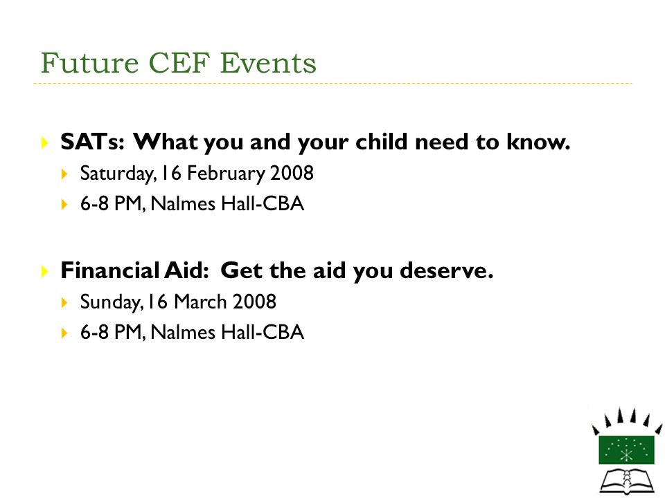 Future CEF Events SATs: What you and your child need to know.