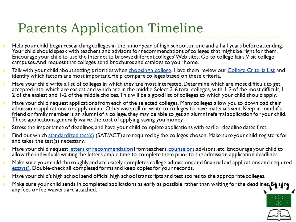 Parents Application Timeline