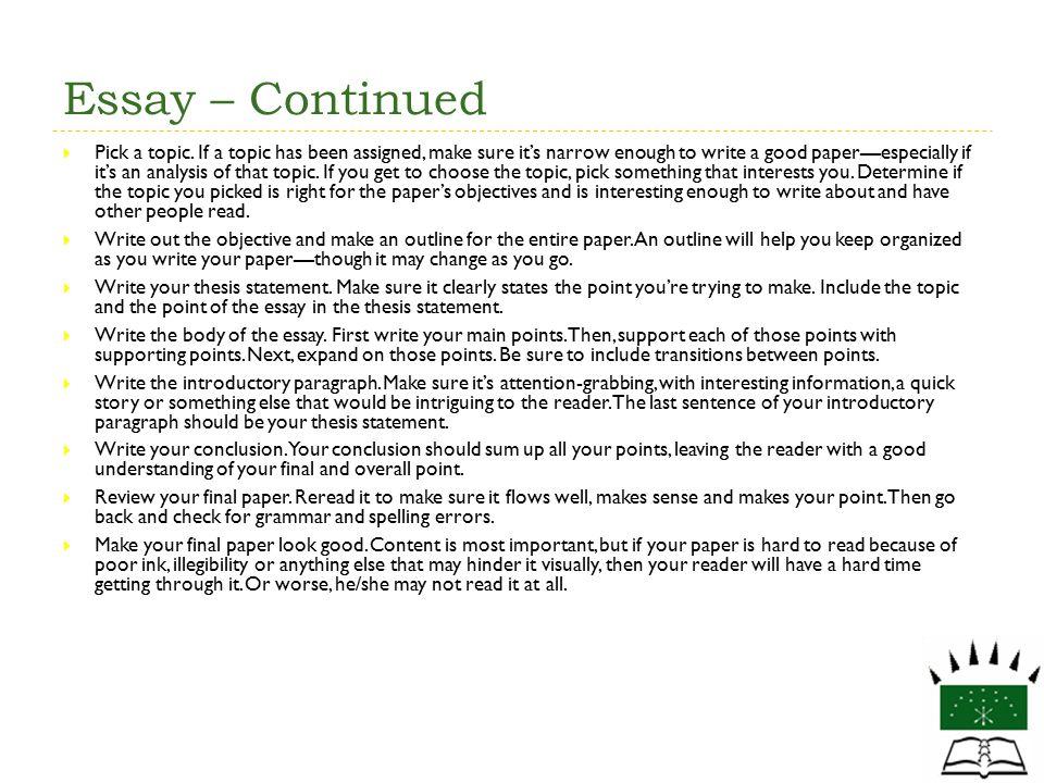 Essay – Continued