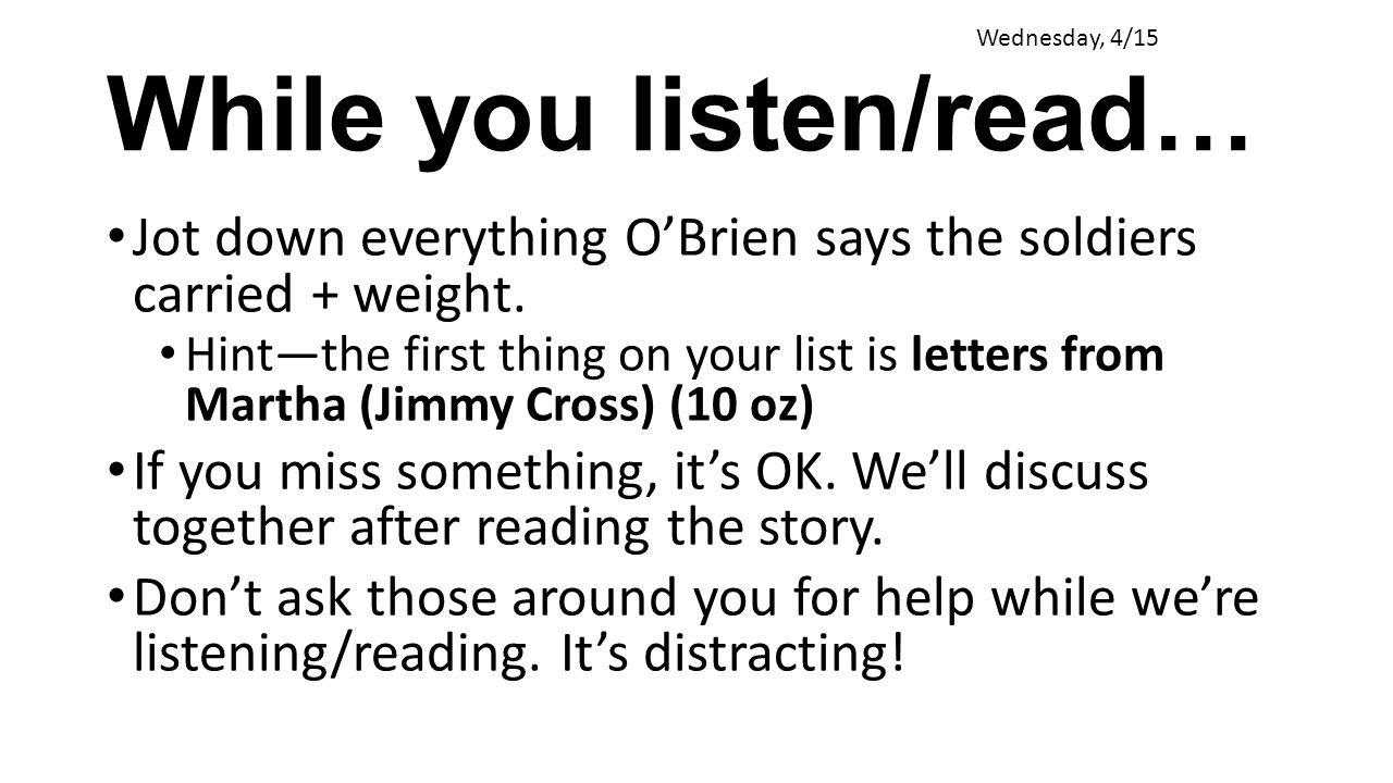 While you listen/read…