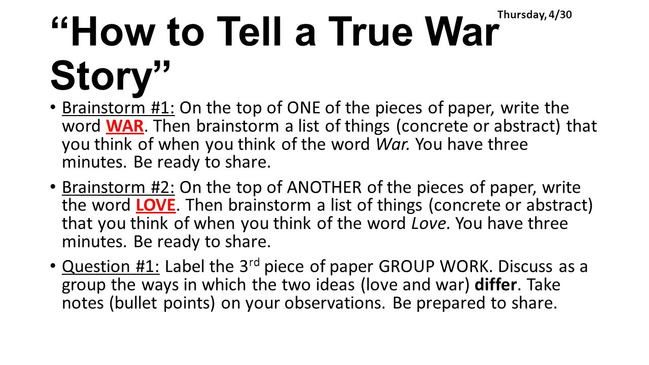 commentary how to tell true war Soldiers home and how to tell a true war story analysis  have been interspersed with instruction on war stories the story also has commentary whereby the narrator .
