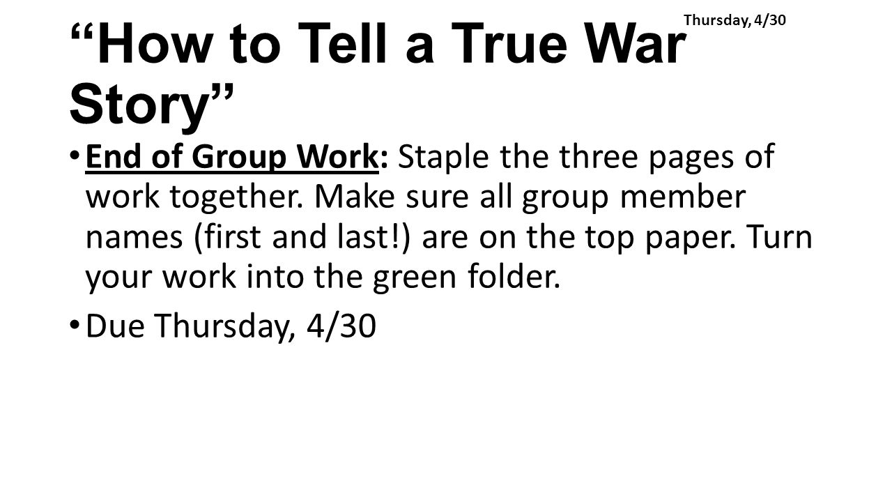 "how to tell a true war Soldier's home and ""how to tell a true war story"" essay writing service, custom soldier's home and ""how to tell a true war story"" papers, term papers."
