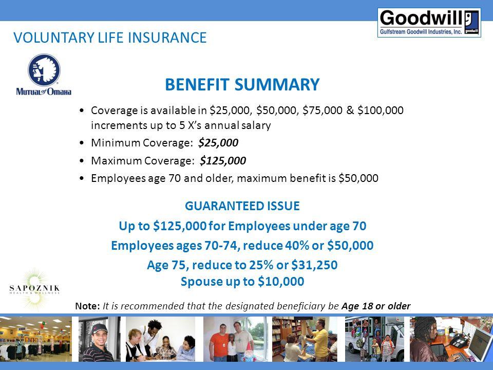 BENEFIT SUMMARY Voluntary life insurance GUARANTEED ISSUE