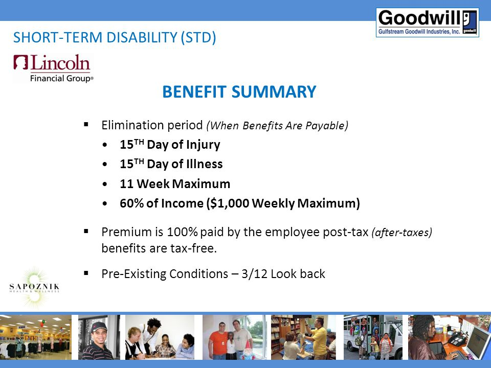 BENEFIT SUMMARY Short-term disability (std)