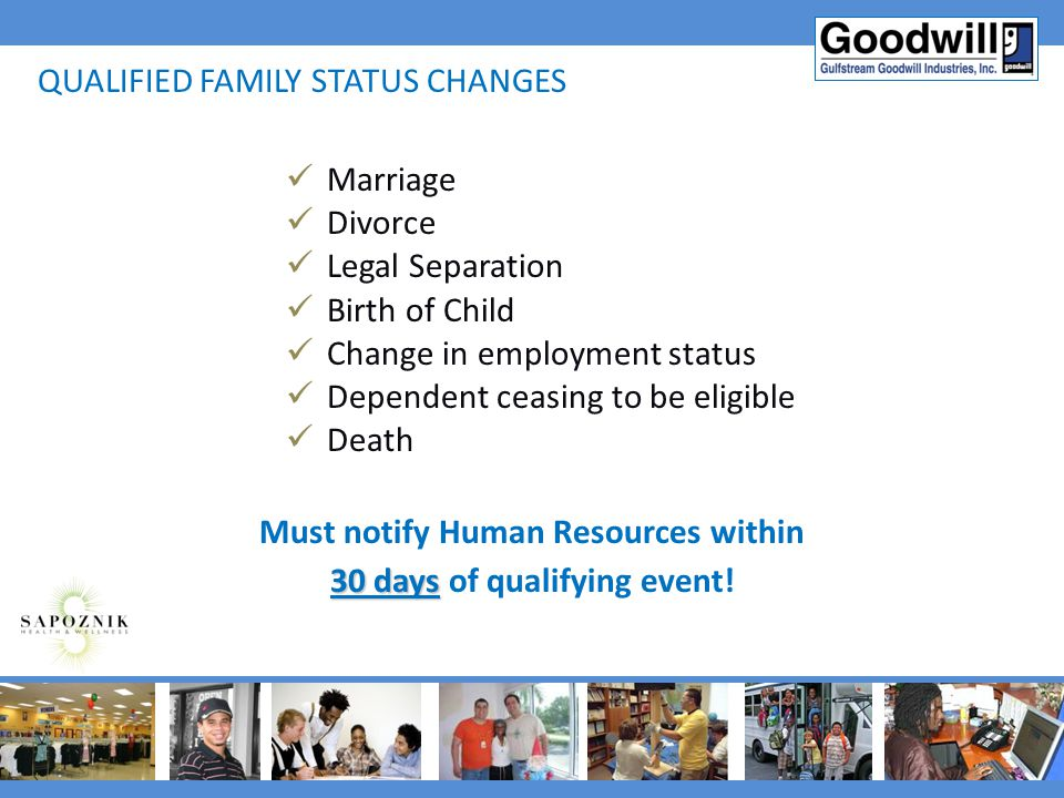 Must notify Human Resources within 30 days of qualifying event!