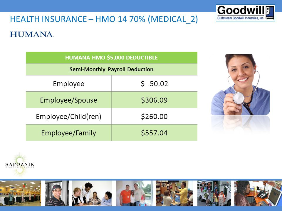HUMANA HMO $5,000 DEDUCTIBLE Semi-Monthly Payroll Deduction