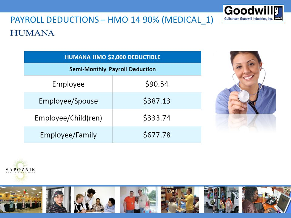 HUMANA HMO $2,000 DEDUCTIBLE Semi-Monthly Payroll Deduction