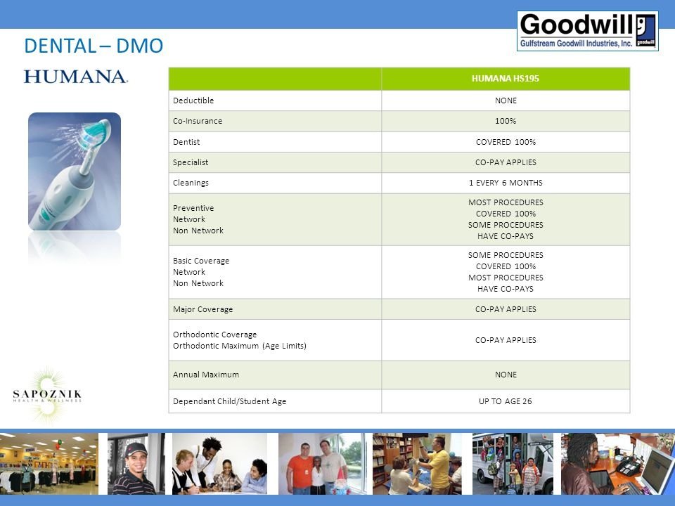 DENTAL – DMO HUMANA HS195 Deductible NONE Co-Insurance 100% Dentist