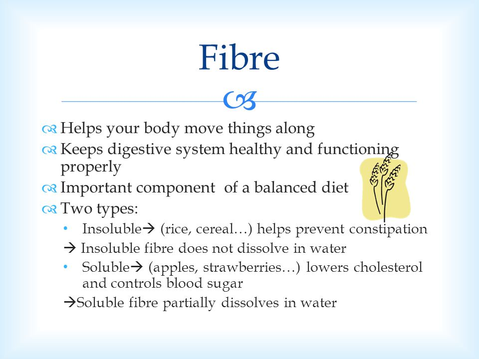 Fibre Helps your body move things along