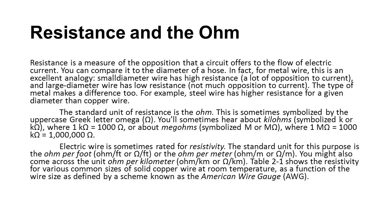 Resistance and the Ohm