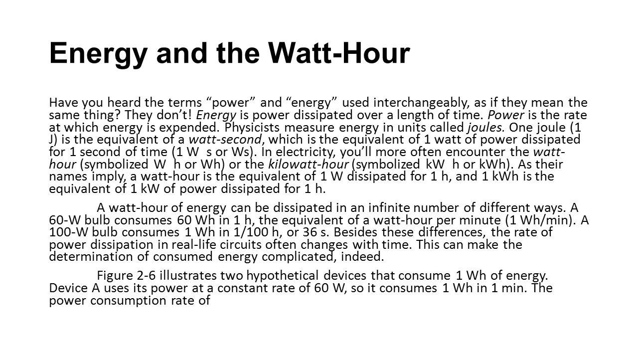 Energy and the Watt-Hour