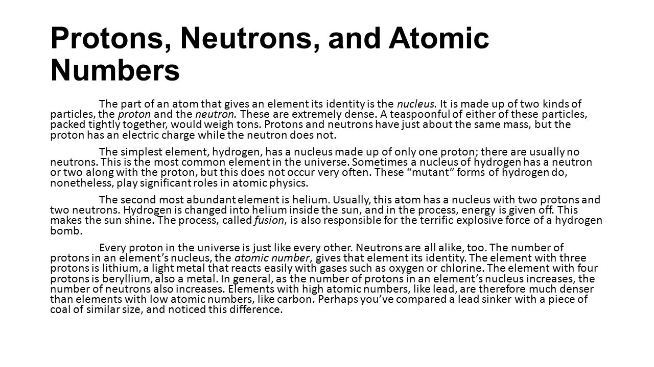 Protons, Neutrons, and Atomic Numbers