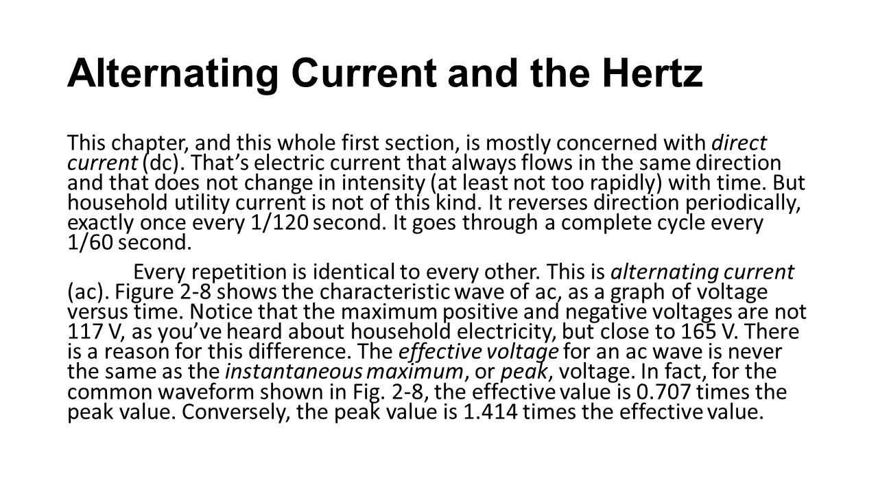 Alternating Current and the Hertz