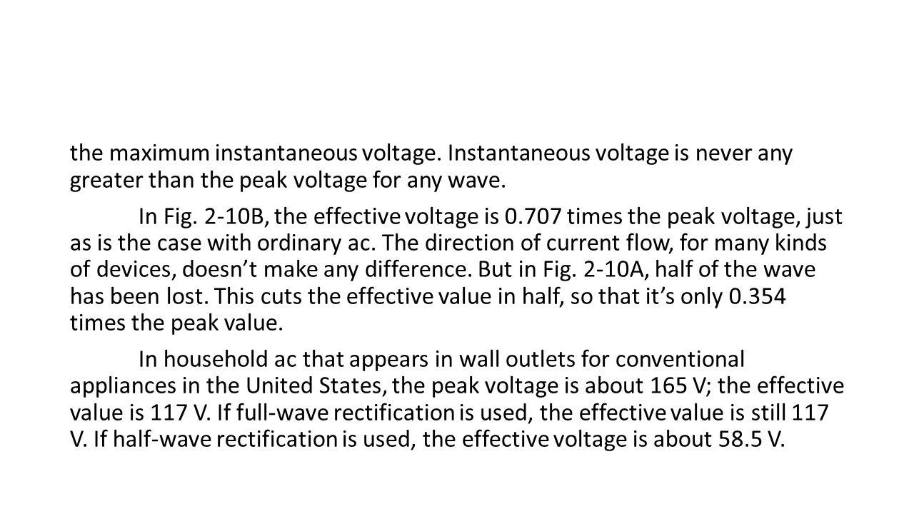 the maximum instantaneous voltage