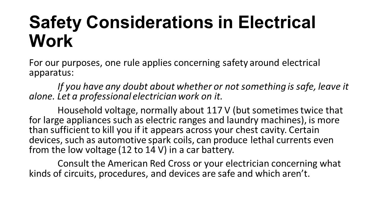 Safety Considerations in Electrical Work