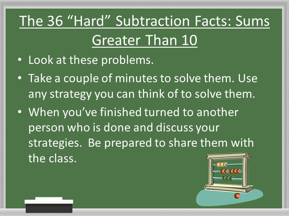 The 36 Hard Subtraction Facts: Sums Greater Than 10