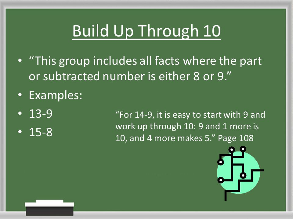 Build Up Through 10 This group includes all facts where the part or subtracted number is either 8 or 9.