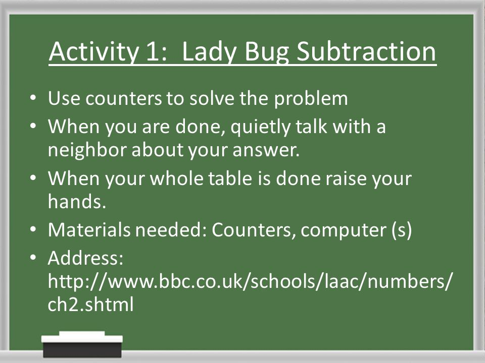 Activity 1: Lady Bug Subtraction