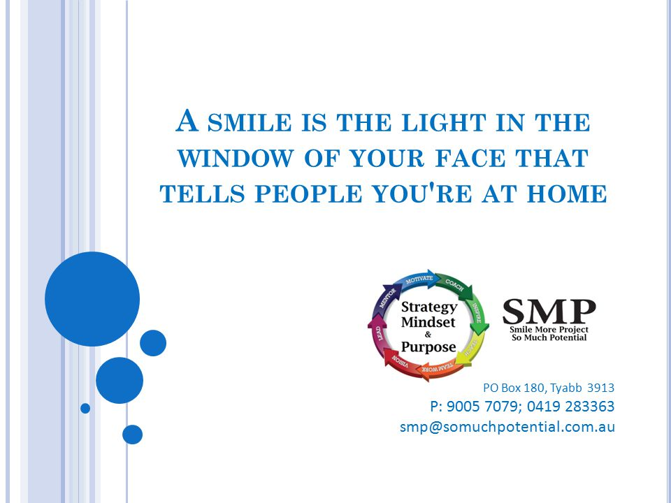 A smile is the light in the window of your face that tells people you re at home
