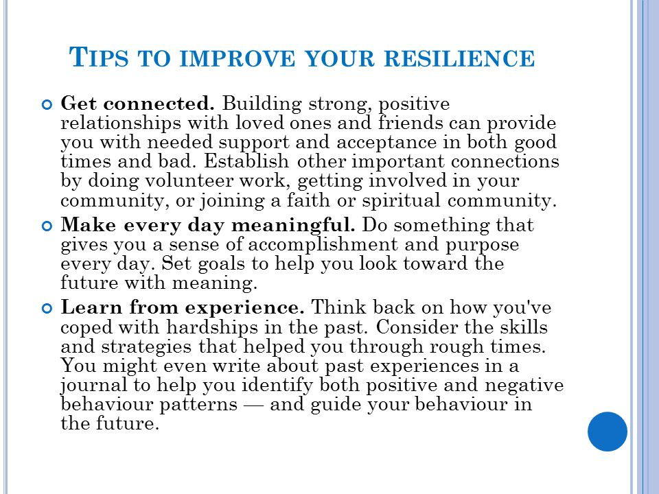 Tips to improve your resilience