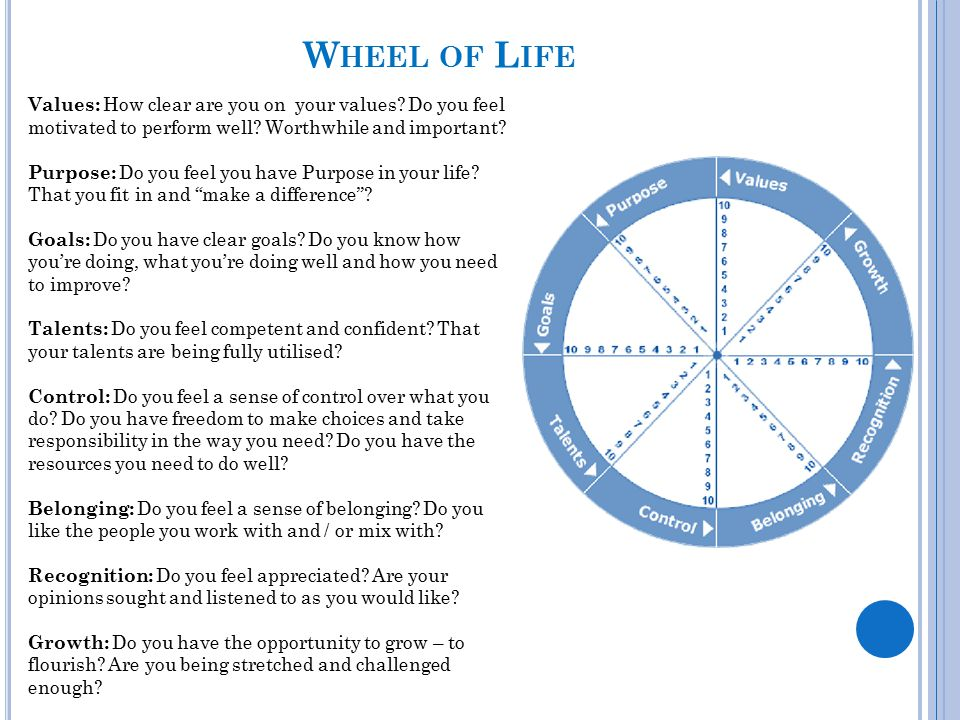 Wheel of Life Values: How clear are you on your values Do you feel motivated to perform well Worthwhile and important