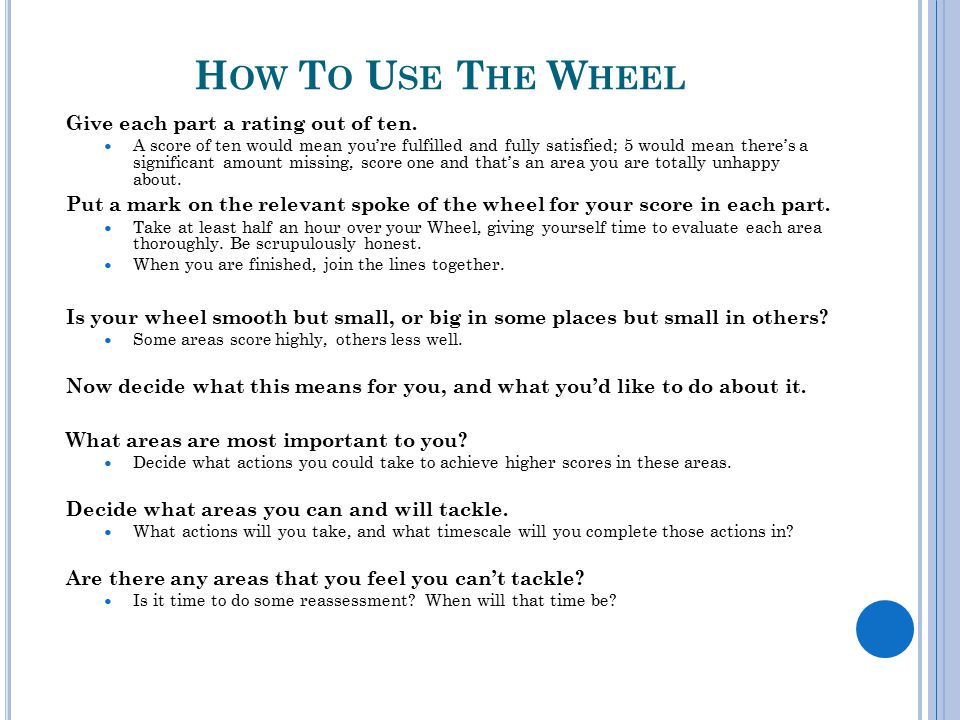 How To Use The Wheel Give each part a rating out of ten.