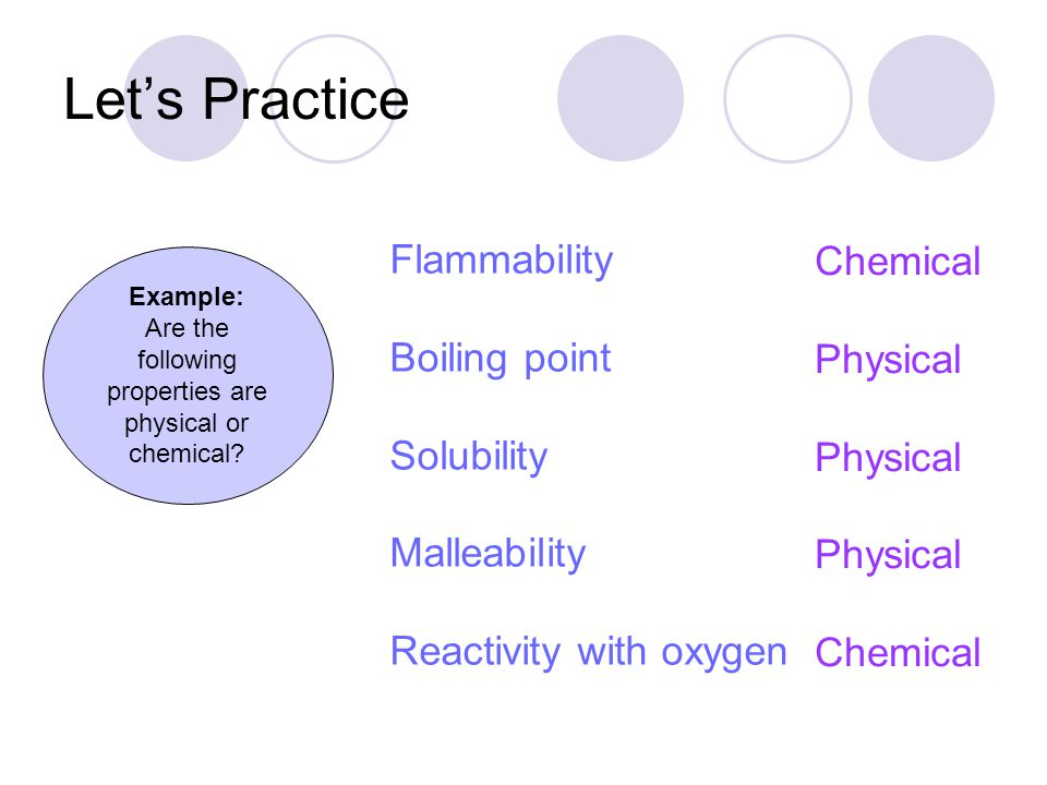 Are the following properties are physical or chemical