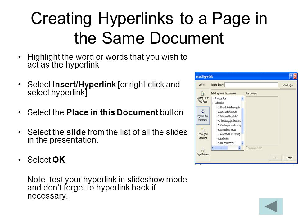 Creating Hyperlinks to a Page in the Same Document