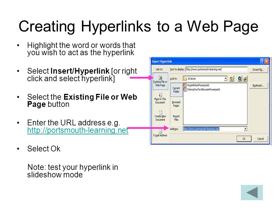 Creating Hyperlinks to a Web Page