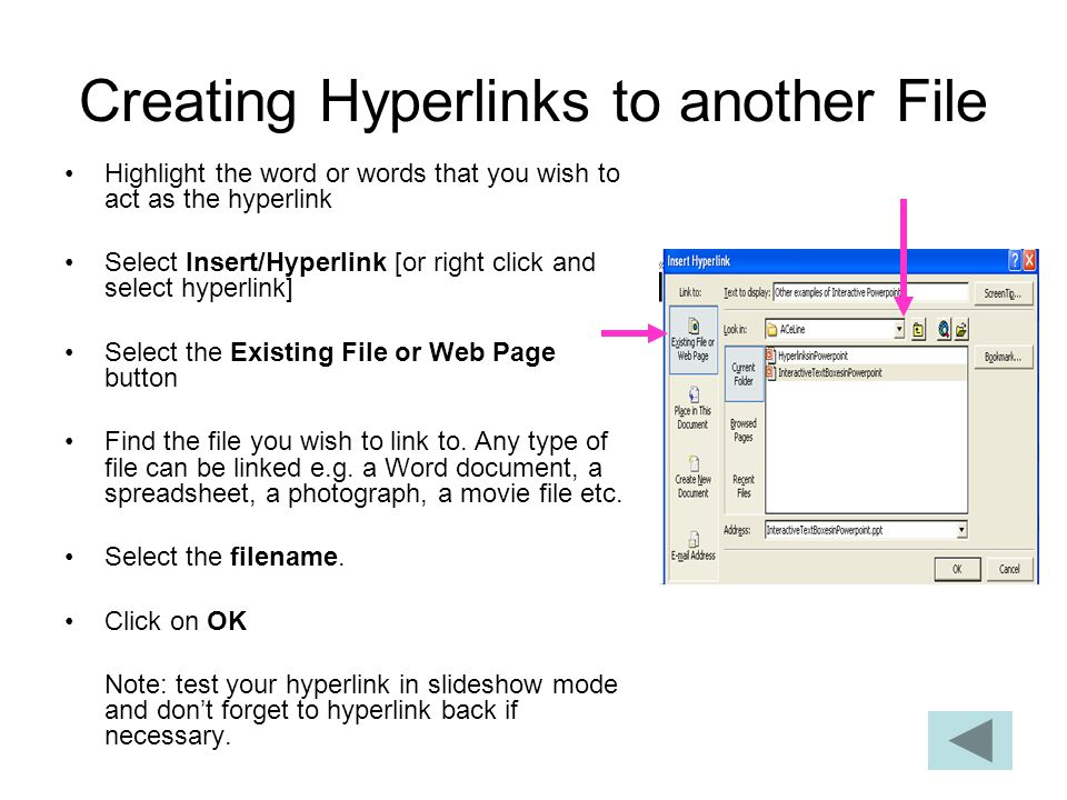 Creating Hyperlinks to another File